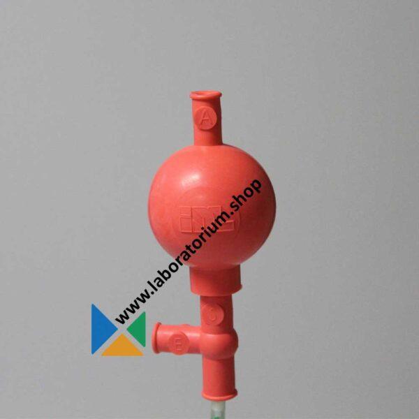 Pipetteerballon tot 50 mL per cyclus, rood, met drie ventilatieventielen