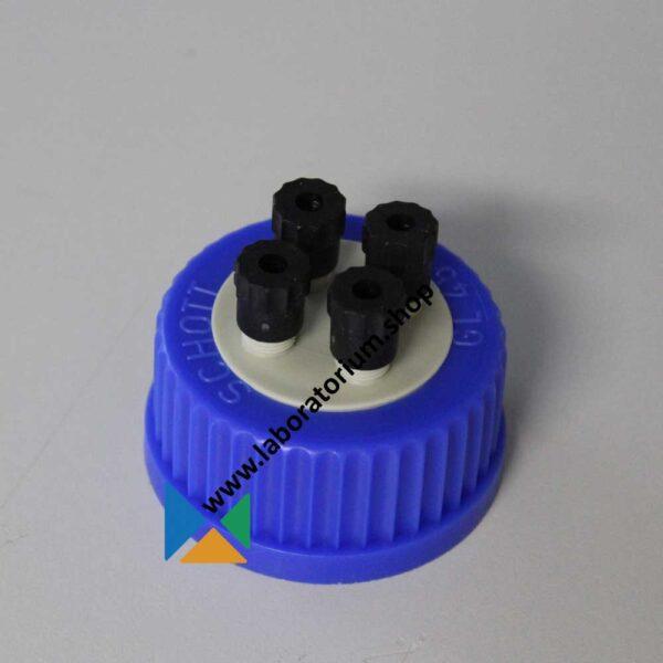 Schroefdop GL45 voor HPLC flessen DURAN, met vier aansluitingen, van PP