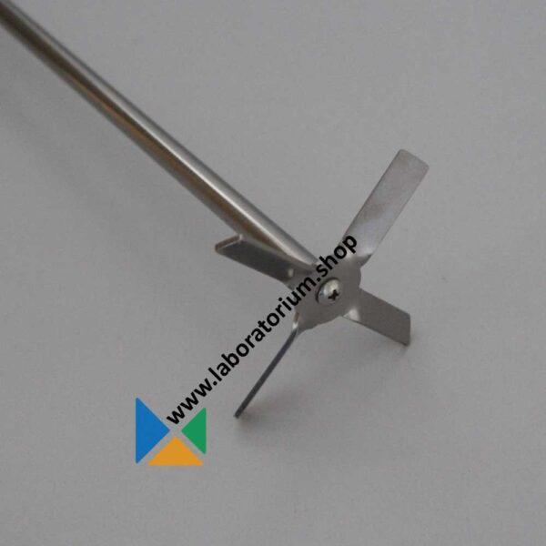 Roeras propellerroerder 4-bladig, RVS, lengte 650 mm, agitator diam. 90 mm, as diam. 10 mm