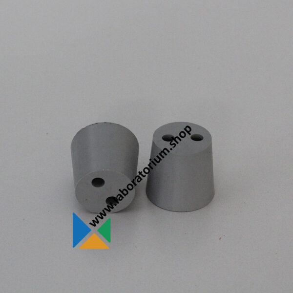 Rubber stoppen met 2 boringen, 31-38 mm, boring diam. 7 mm, grijs, 5 stuks